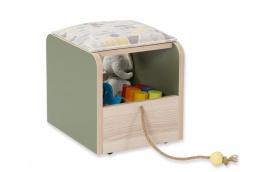 Dětský interaktivní taburet Beatrice - dub světlý/zelená