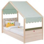 Dětská postel Beatrice 80x180cm se stříškou - dub světlý/zelená