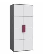 Dětská šatní skříň Lobete - šedá/bílá/fialová