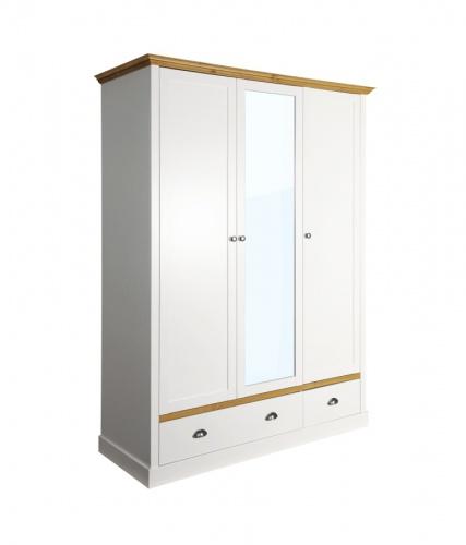 Šatní skříň Andry 3D2S - bílá/přírodní