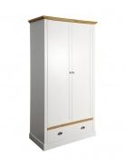 Šatní skříň Andry 2D1S - bílá/přírodní