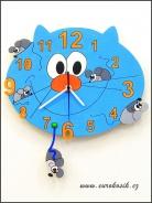 Dětské hodiny nástěnné Kočka modrá