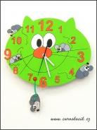 Dětské hodiny nástěnné Kočka zelená