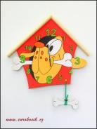 Dětské hodiny nástěnné Pes červené
