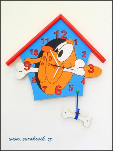 Dětské hodiny nástěnné Pes modré