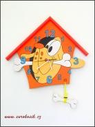 Dětské hodiny nástěnné Pes oranžové
