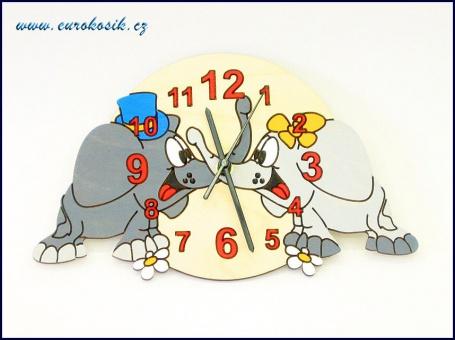Dětské hodiny nástěnné Sloni