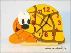 Dětské hodiny nástěnné želva žlutá