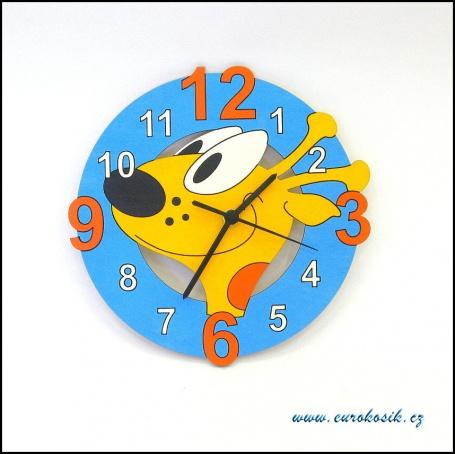 Dětské hodiny nástěnné žirafa modrá