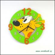 Dětské hodiny nástěnné žirafa zelená