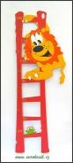 Dětský metr na zeď Lev červený