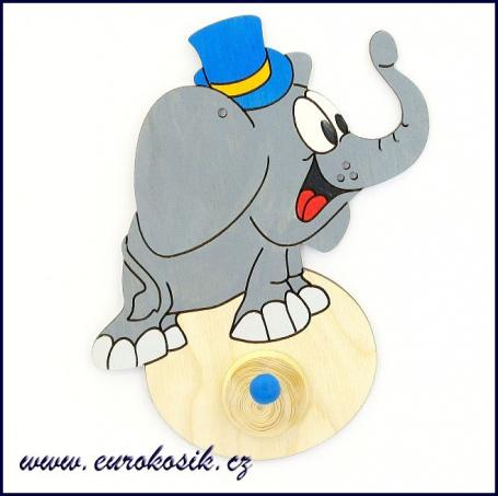 Dětský věšák Slon s klouboukem 13x15