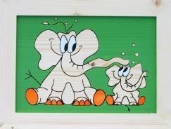 Dětský obrázek sloni zelený