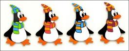 Dekorace na zeď tučňák se šálou 11cm - 6ks