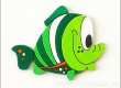 Dekorace ryba zelená 11,5cm - balení 3ks