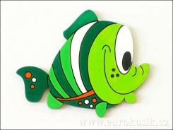 Dekorace ryba zelená 8,5cm - balení 5ks