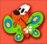 Dětské hodiny nástěnné Motýl zelený