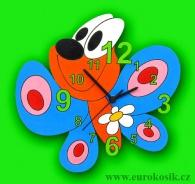 Dětské hodiny nástěnné Motýl modrý