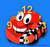 Dětské hodiny nástěnné auto červené