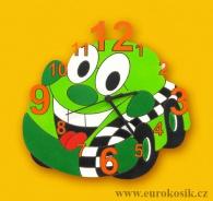 Dětské hodiny nástěnné auto zelené