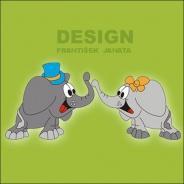 Dekorace na zeď Sloni pár - 8ks