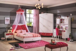 Dívčí pokoj Rosie - bílá/rubínová