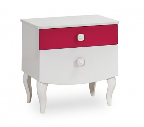 Dětský noční stolek Rosie - bílá/rubínová