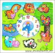 Puzzle na desce velké Hodiny se zvířaty