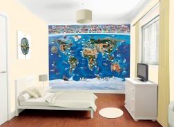 Dětská 3D tapeta na zeď Walltastic - Mapa světa