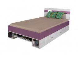 Dětská postel Delbert 120x200cm - borovice/fialová