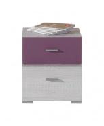 Noční stolek Delbert 17 - borovice/fialová