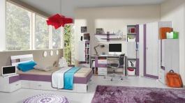 Dětský pokoj Delbert B - borovice/fialová