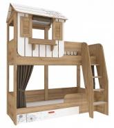 Dětská patrová postel s domečkem a úložným prostorem Brody 80x190cm - dub zlatý/bílá