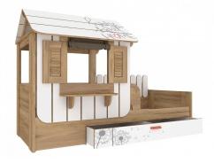 DDětská postel s domečkem a úložným prostorem Brody 80x190cm - dub zlatý/bílá