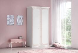 Dvoudveřová šatní skříň Betty - bílá/růžová
