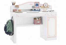Psací stůl s malým nástavcem Betty - bílá/růžová