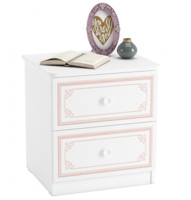 Noční stolek Betty - bílá/růžová