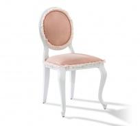 Rustikální čalouněná židle Ballerina - bílá/lososová