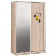 Šatní skříň s posuvnými dveřmi a zrcadlem Veronica - dub světlý/bílá