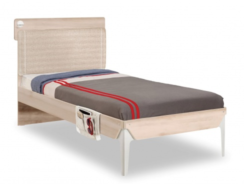 Studentská postel 90x200cm s poličkou Veronica - dub světlý/bílá