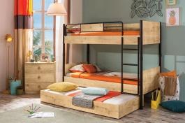 Patrová postel se zásuvkou Cody 90x200cm - dub světlý/černá