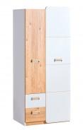 Dvoudveřová šatní skříň Melisa - bílá/dub nash