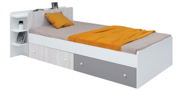 Dětská postel s úložným prostorem Beta 90x200cm - bílá/dub wilton/šedá