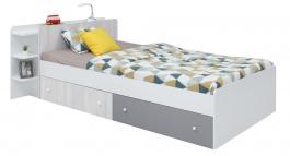 Studentská postel s úložným prostorem Beta 120x200cm - bílá/dub wilton/šedá