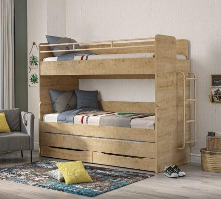 Patrová postel s úložným prostorem a žebříkem Cody 90x200cm - dub světlý