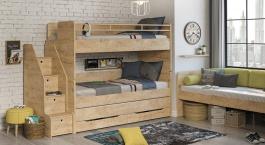 Patrová postel s úložným prostorem a schůdky Cody 90x200cm - dub světlý