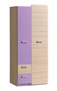 Dvoudveřová šatní skříň Melisa - jasan/fialová