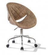 Čalouněná židle na kolečkách Celeste - hnědá