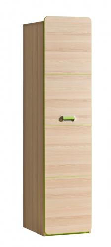 Jednodveřová šatní skříň Melisa - jasan/zelená