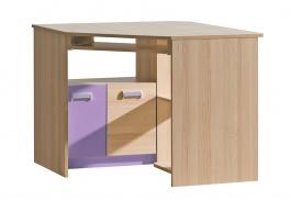 Rohový PC stůl Melisa  - jasan/fialová